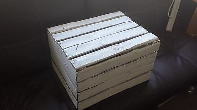 White Painted European Vintage Wooden Apple Fruit Crate Bushel Box Shabby Chic 7