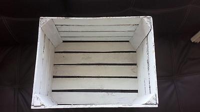 White Painted European Vintage Wooden Apple Fruit Crate Bushel Box Shabby Chic