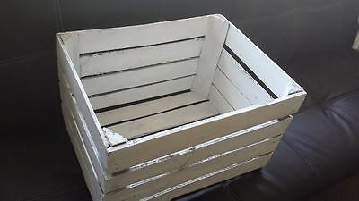White Painted European Vintage Wooden Apple Fruit Crate Bushel Box Shabby Chic 2