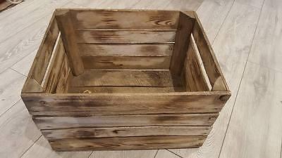 Burnt Tourched Wood Vintage Wooden Apple Fruit Crate Rustic Old Bushel Box.... 3