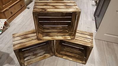 Burnt Tourched Wood Vintage Wooden Apple Fruit Crate Rustic Old Bushel Box.... 6