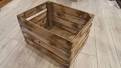 6 x BURNT TOURCHED WOOD VINTAGE WOODEN APPLE FRUIT CRATE RUSTIC OLD BUSHEL BOX.. 2
