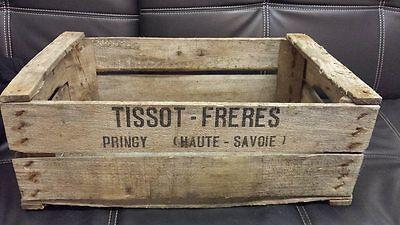 Vintage Wooden Tissot Pear Fruit Crates Rustic Old Bushel Box French Apple .* 2