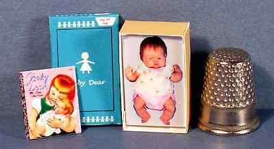 Dollhouse Miniature 1:12 Baby Dear Doll Box & Wilkins Little Golden Book nursery