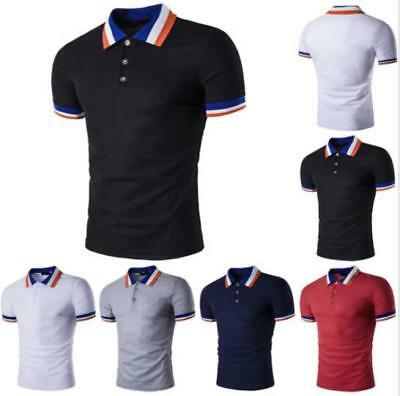 New Men's Slim Fit POLO Shirts Solid Short Sleeve Casual Golf T-shirt Tee Tops 5