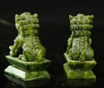 A Pair 100% Natural China Green Jade Carved Fengshui Foo Fu Dog Guard Door Lion 8