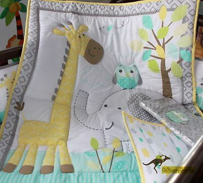 Baby Boys 9 Pieces Elephant Giraffe Theme Cotton Nursery Bedding Crib Cot Sets