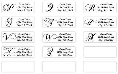 monogrammed personalized return address labels 400 count 1 2 x