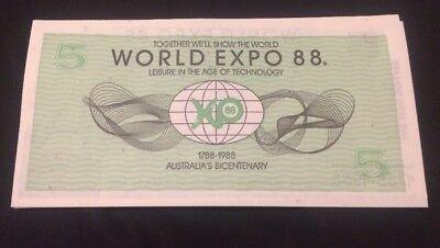 1x Banknotes Australian Brisbane World Expo 1988 $5 Dollar Uncirculated 2