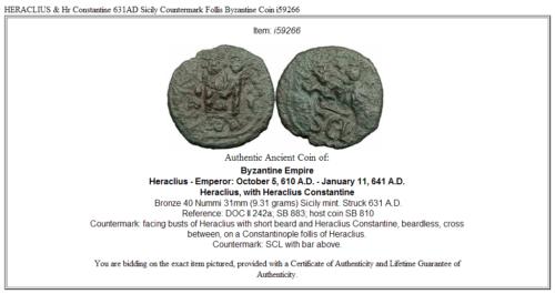 HERACLIUS & Hr Constantine 631AD Sicily Countermark Follis Byzantine Coin i59266 3