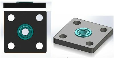 4 Pcs KFL04 4mm inner ID bore square Mounted Housing with MF84ZZ Flanged Bearing 2