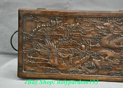 "12"" Old Chinese Huanghuali Wood Carving Palace Dragon Phoenix Jewel Case or Box 10"