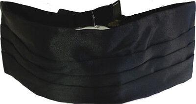 Solid BLACK SILK Cummerbund & BowTie Men's Tuxedo Bow Tie Box Set Prom Formal