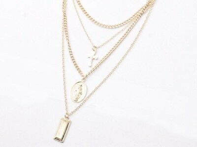 Jesus Cross Necklace Multi Layer Chain Triple Charm Pendant Choker Jewelry QK