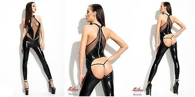 Demoniq Catsuit Wetlook String Tanga Overalls Bodys schwarz neu Sexy GoGo Club