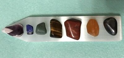 GODDESS BLESSED Chakra Gemstone Set Polished Selenite Rainbow  Crystal Healing 11