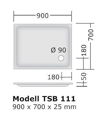 Duschwanne 90x75 cm ISB015 Duschbecken Dusche 75x90x6,5 deutsches Produkt