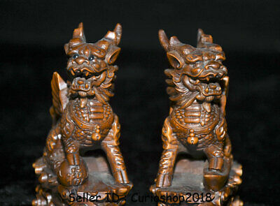 "4"" Old Chinese Boxwood Wood Carving Dragon Qilin Beast Wealth Lucky Statue Pair 7"