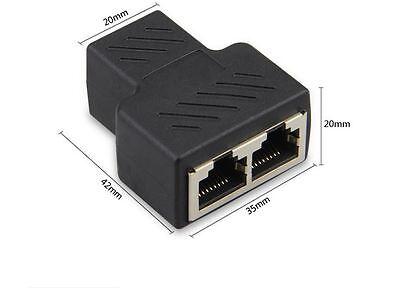 1 à 2 LAN Ethernet réseau RJ45 répartiteur prolongateur connecteur adaptateur~PL 3