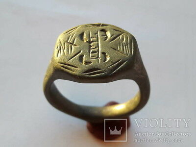 ANCIENT Medieval Bronze Ring 13-16 century AD 12