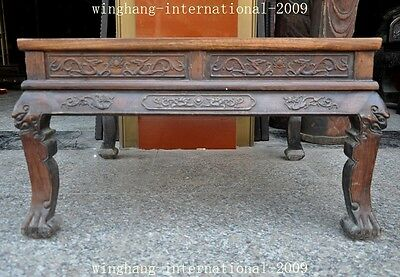 Old China Huanghuali Wood Hand-Carved Dragon phoenix Statue Ancient Tables Desk 6