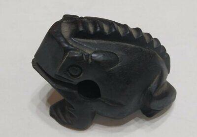"""Vintage Hand Carved Frog Dark Black Wooden Wood Statue Decor Figurine Figure 4"""" 3"""