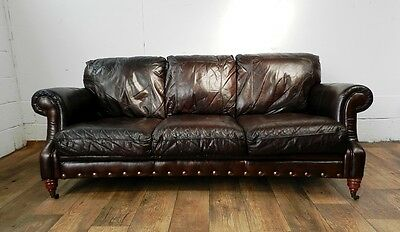 Victorian Style Cigar Brown Stud Leather Chesterfield 3 Seater Sofa 1 Of A Pair 10