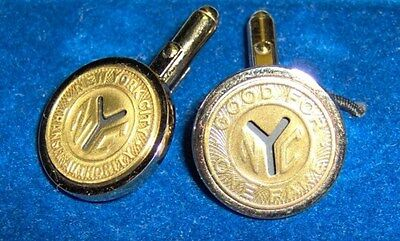 Subway Map Cufflinks.New York City Subway Transit Token Cufflinks Gold Plated Brass W Bezel Nyc Y Cut