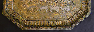 Superb Antique Signed Brass And Silver  Persian Tray Hunting Scene 5
