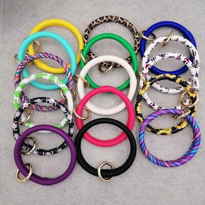 PU Leather O Key Chain Circle Cute Tassel Wristlet Keychain Key Ring Bangle 7