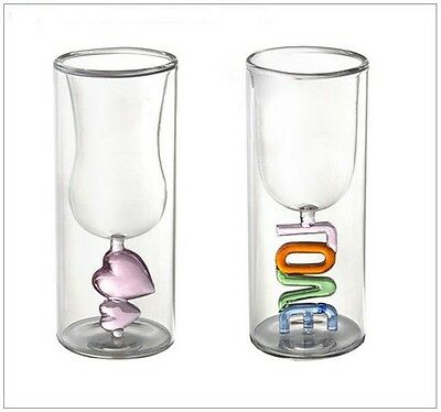Love Heat Drinking Glass Set for Valentines Wedding Anniversary Occasions Gift 2