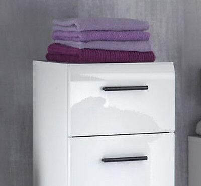 BADSCHRANK UNTERSCHRANK WEISS Hochglanz Kommode Bad Badezimmer Möbel Skin  30 x 80