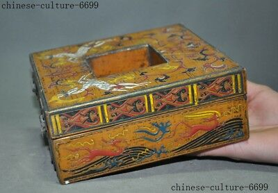 "7"" Rare old Chinese lacquerware wood carving Sika deer Storage Jewelry box case 5"