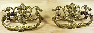 Antique 19c Brass Grotesque Face Head Koi Monster Pulls Architectural Hardware 12