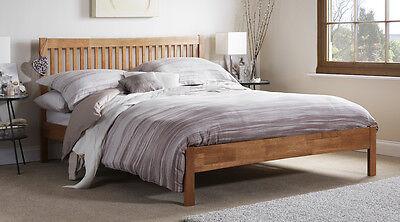 Hevea Hard Wood Bed Frame HONEY OAK Finish, OPAL WHITE, or GREY Finish Bedstead 8