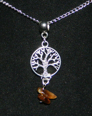 """Tigers Eye Tree of Life Pendant Silver Plated Chain Necklace 17"""" Wicca Occult 2"""