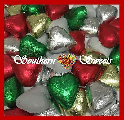 Choc Foiled Hearts Gold Silver Red White Green Chocolate Lollies Xmas Christmas
