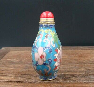 Collectible 100% Handmade Painting Copper Cloisonne Enamel Snuff Bottles 3