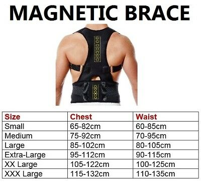 Unisex Posture Corrector Lumbar Lower Back Support Shoulder Brace Pain Magnetic 12