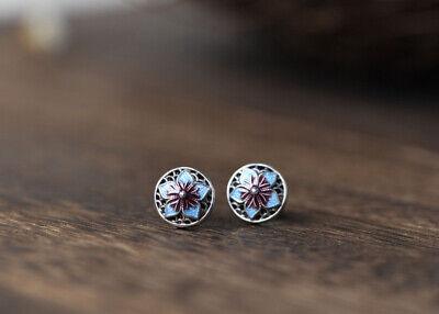 I05 Ohrstecker Ohrring Lotusblüte aus Sterling Silber 925 Cloisonne blau-lila