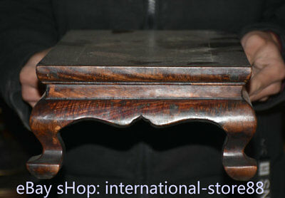 """14.4"""" Old Chinese Dynasty Huanghuali Wood Inlay Shell Fish Table Desk furniture 5"""