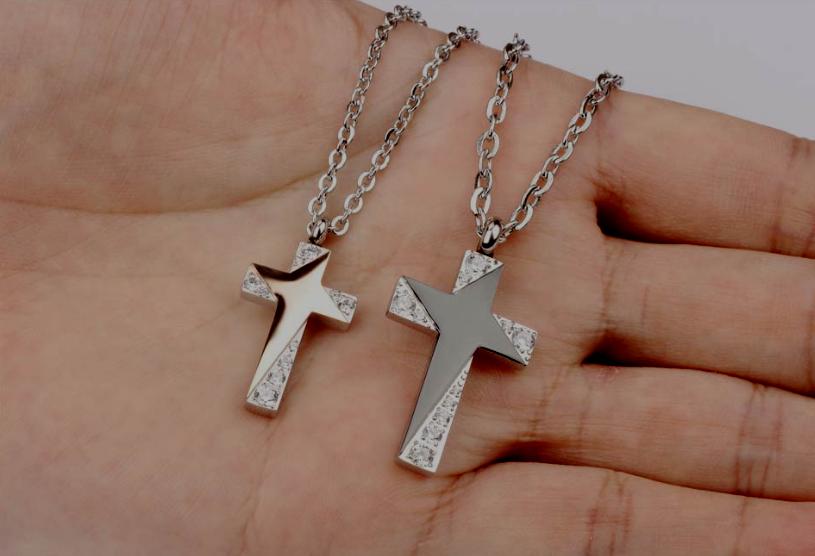 2 Collana Coppia Uomo Donna Unisex Acciaio Catena Ciondolo Croce Fidanzati Paio