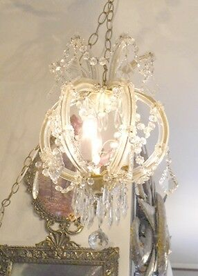 Antique Round 3 Light Crystal Chandelier w/ Unique Prisms, Glass Over Brass Arms 5