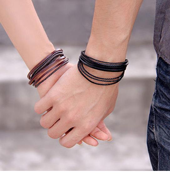 Mens Handmade Leather Braided Surfer Wristband Bracelet Bangle Wrap CLEARANCE 3