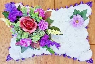 Pillow Shape Silk Artificial Funeral Flowers Wreath/Memorial/Grave/Tribute 20x12 2