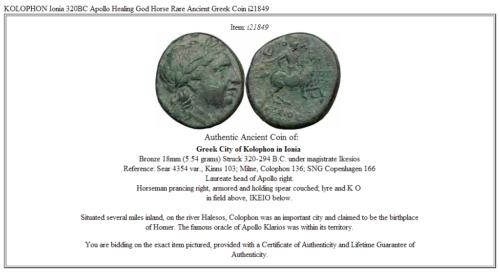 KOLOPHON Ionia 320BC Apollo  Healing God Horse Rare Ancient Greek Coin  i21849 3