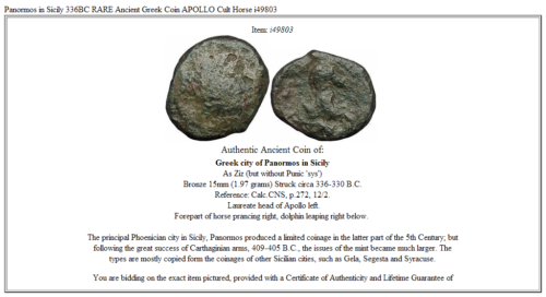 Panormos in Sicily 336BC RARE Ancient Greek Coin APOLLO Cult Horse i49803 3