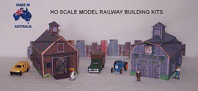 HO Scale Country Farm Shed Barn x 2, Model Railway Building Kit - CFSB1