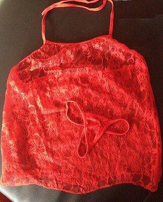 Sexy Spitze Reizwäsche Dessous Negligee + String  36 in  rot + schwarz Baby Doll 3