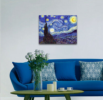 Starry Night by Van Gogh Fine Art Print Painting Reproduction on Canvas Framed 9